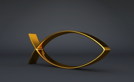 pisces sign: 3D ICHTHYS gold on Black 03