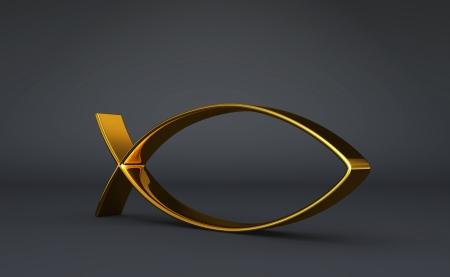 pez cristiano: 3D ICHTHYS oro en Negro 03