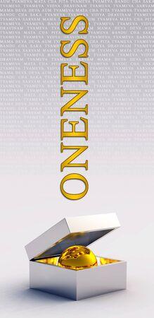 oneness: Unit� d'oro palla scatola Archivio Fotografico
