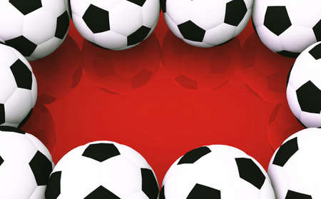 backplate: Background - soccer balls on red Stock Photo