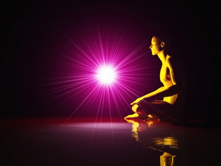 Light meditation on water - Red Gold Stock Photo - 14380875
