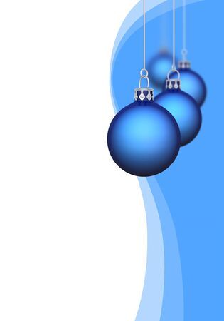 free christmas: Christmas balls with waves of blue   Stock Photo