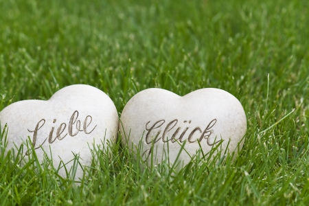 Two hearts in the Grass - love and happiness photo