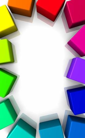 Colorful frames - 3D cubes - vertical photo