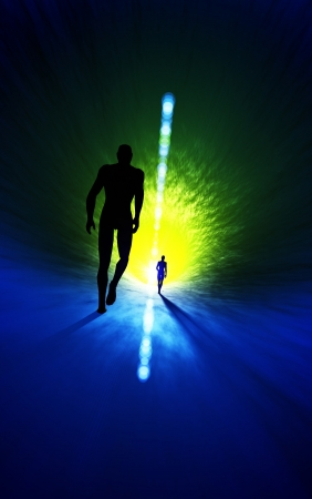 rebirth: The light at the end of the tunnel, green blue Stock Photo