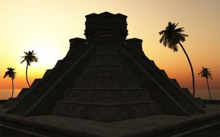 Maya-piramide tempel in 2012 Sunset