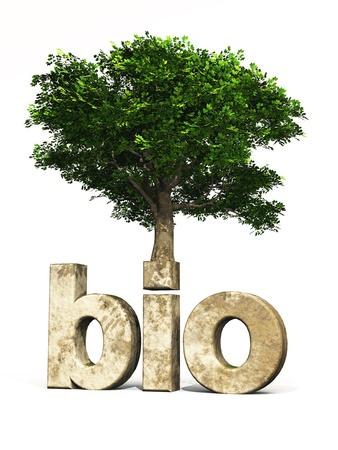 Texto en 3D con el árbol orgánica para la protección del clima