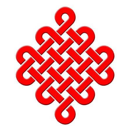 Buddha s endless red knots Stock Photo - 14401393