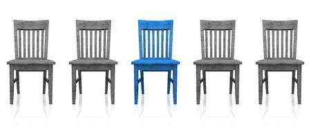 의자의 3D 행 - 블루 그레이 스톡 콘텐츠