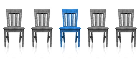 3D row of chairs - blue gray
