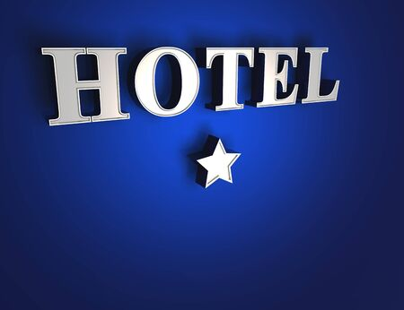 1 star hotel sign - Blue on Silver photo