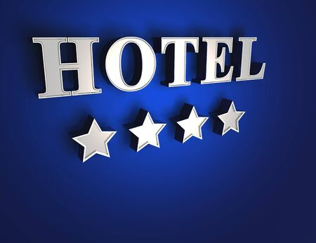 4 star: 4 star hotel sign - Blue on Silver Stock Photo