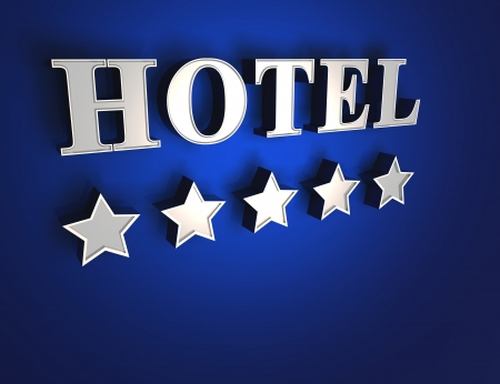 five stars: 5 star hotel sign - Blue on Silver
