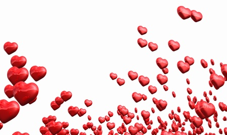 Many flying red hearts isolated photo