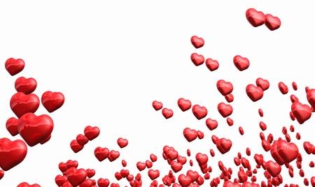 Veel vliegende rode harten geïsoleerd Stockfoto