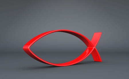 christian confirmation: 3D Fish Symbol Red on Black