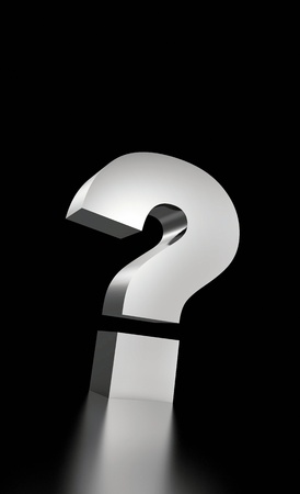 The big question mark silver on black Stock Photo - 14401511