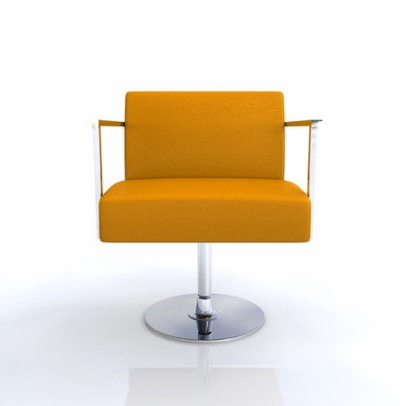 designer chair: Modern Designer Chair - Orange Chrome Stock Photo