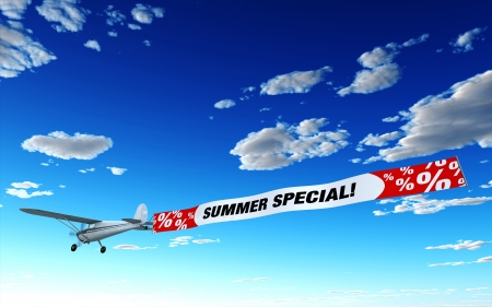 bargains: Airplane Advertising - Summer Special Stock Photo