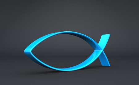 3D Fish Symbol Blue on Black photo