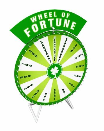 rueda de la fortuna: Rueda de la Fortuna 3D - Verde Blanco Foto de archivo
