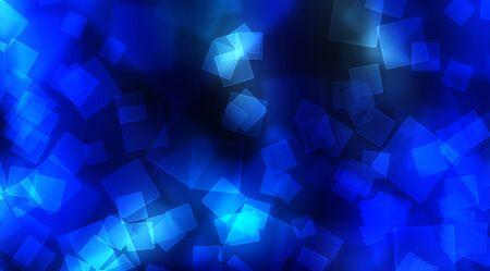cuboid: Blue Bokeh square