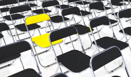 customercare: Yellow folding chair in the middle