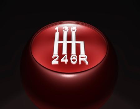 The gear shift - shift knob, red, white