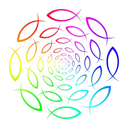 christian confirmation: Rainbow - ICHTHYS - fish symbol  Stock Photo
