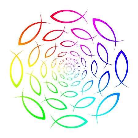 swarm: Rainbow - ICHTHYS - fish symbol  Stock Photo