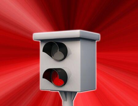 speeder: Note - speed camera in sight - red Stock Photo