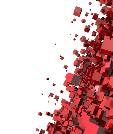 cuboid: 3D - Background - Flying Cube Red