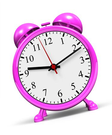 against the clock: Small pink alarm clock against a white background Stock Photo