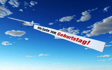 Plane with Banner - Happy Birthday Stock Photo - 14453222