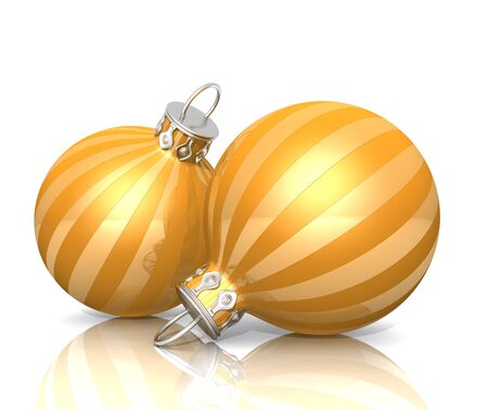 Christmas Ornaments - 2x gold striped yellow 01 photo