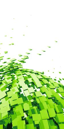 cuboid: 3D - Background - Flying Cubes Green 03 Stock Photo