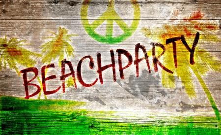 reggae: Beach party des graffitis sur planche de bois vieux