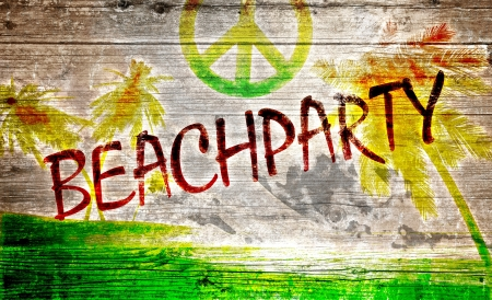 painted the cover illustration: Beach party graffiti on old wooden board Stock Photo