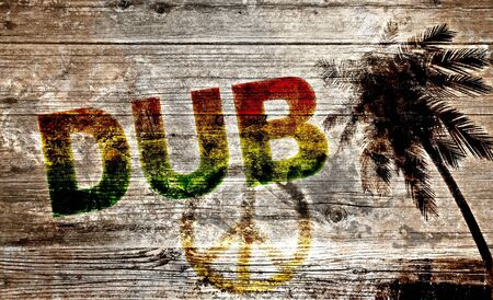 rasta: Old wooden board - DUB and peace on the beach