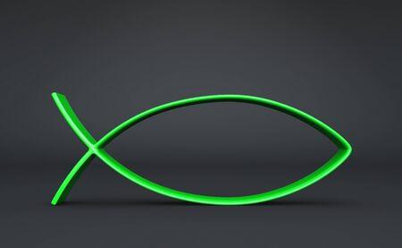 pez cristiano: Peces en 3D símbolo verde sobre negro