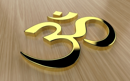 ohm: Om symbol - gold on wood