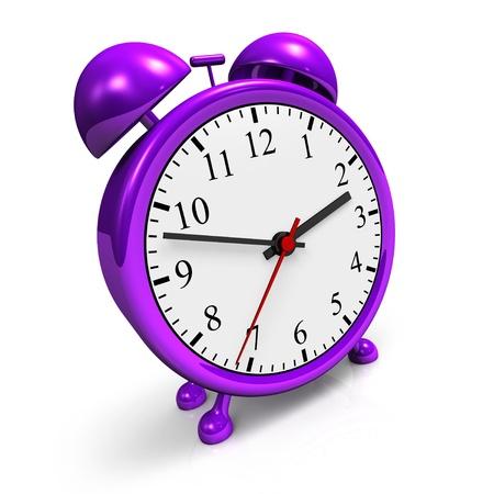 awaken: Small purple alarm clock against a white background