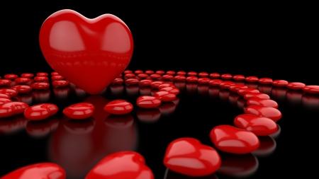 eroticism: Heart circles Red Black 03 Stock Photo