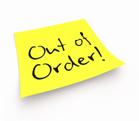 out of order: Stickies - Out of Order Stock Photo