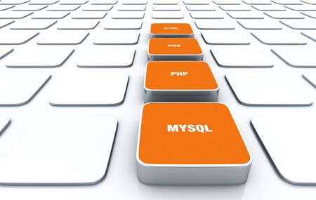 3D Orange Pads - HTML CSS PHP MYSQL 7 Stock Photo - 14548055