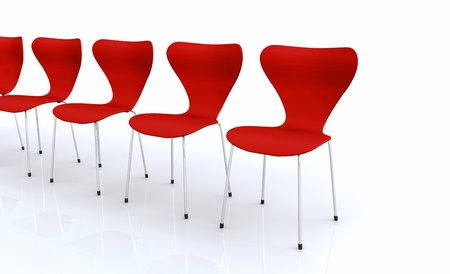 designer chair: Designer chair set - Red 2 Stock Photo
