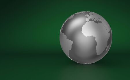 Silver Globe on green background - Europe Stock Photo - 14548077
