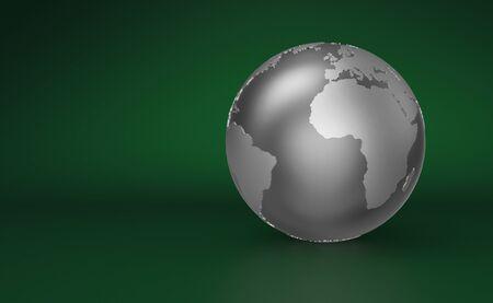 Silver Globe on green background - Europe Stock Photo - 14548077