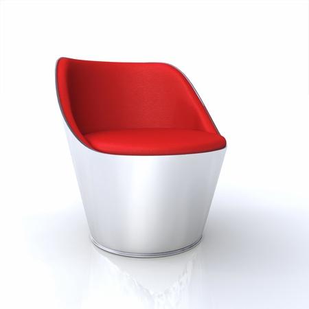 designer chair: Designer Silver Chair Red 5 Stock Photo