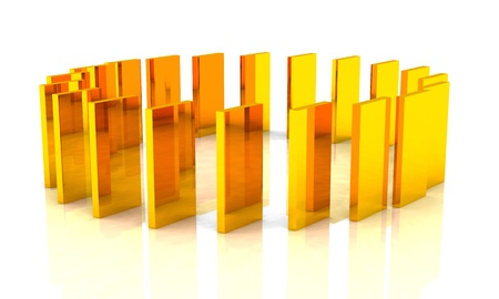 cuboid: Abstract golden blocks in the district